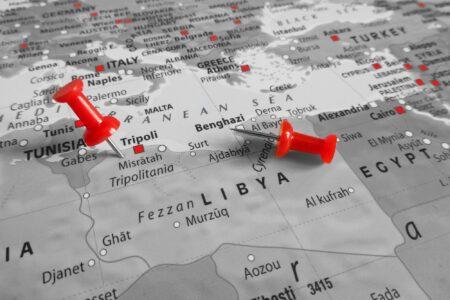 Red marker over Libya (iStock/)