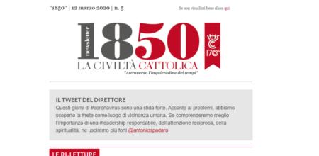 """Il nuovo numero di """"1850"""", l'altra newsletter de """"La Civiltà Cattolica"""""""